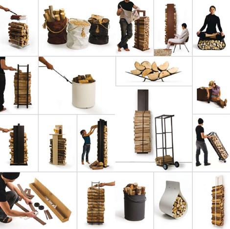 Rangement design pour bois de chauffage for Rangement buche de bois interieur