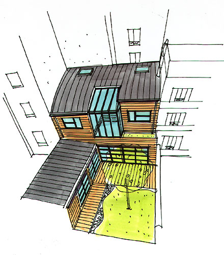 Maison loft en bois for Dessiner plan patio