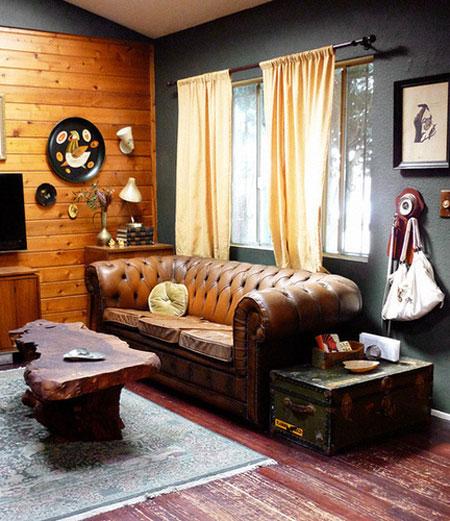 Canap s chesterfield - Rustikal modern wohnzimmer ...