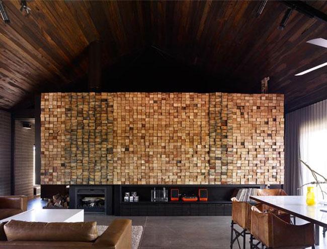 Decoration Mur Interieur En Bois : End Grain Wood Wall