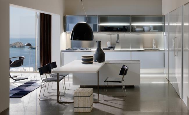 Cuisine cuisine blanc design : escamotable design en bois clair blanc et metal