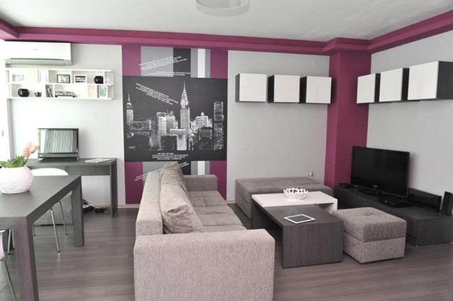 Am nager un petit appartement color - Comment decorer un salon moderne ...
