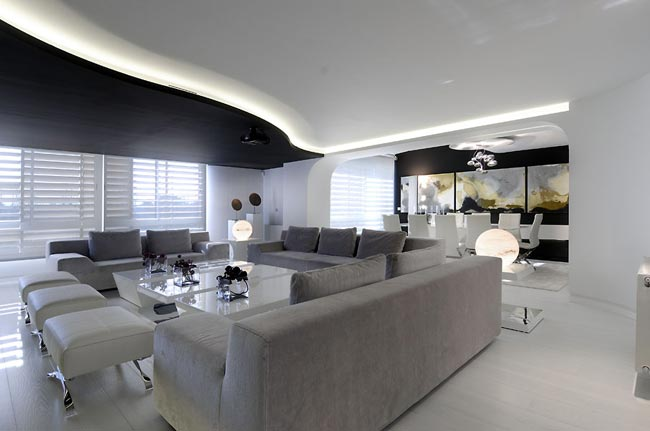 Appartement design tout blanc avec un peu de noir quand m me for Design of appartement