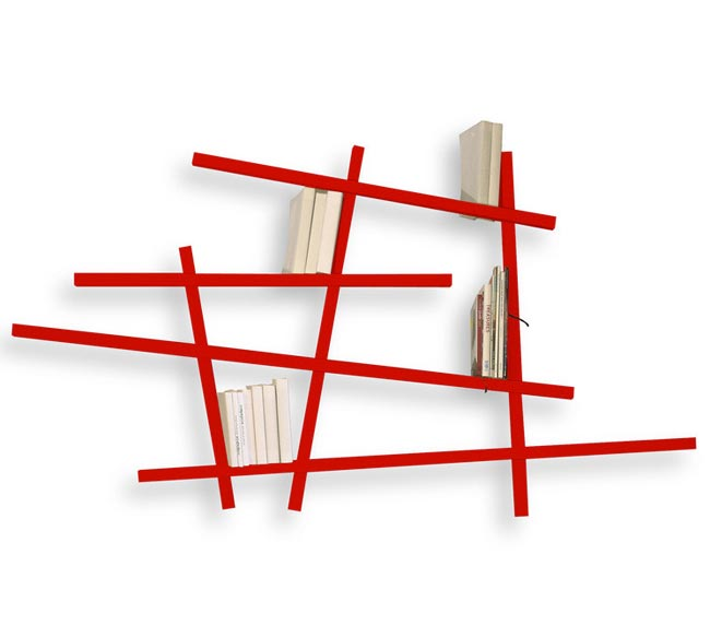 Etagere design mkado rouge - Bibliotheque murale contemporaine ...
