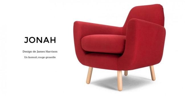 Un fauteuil design nomm jonah - Fauteuil rouge pas cher ...
