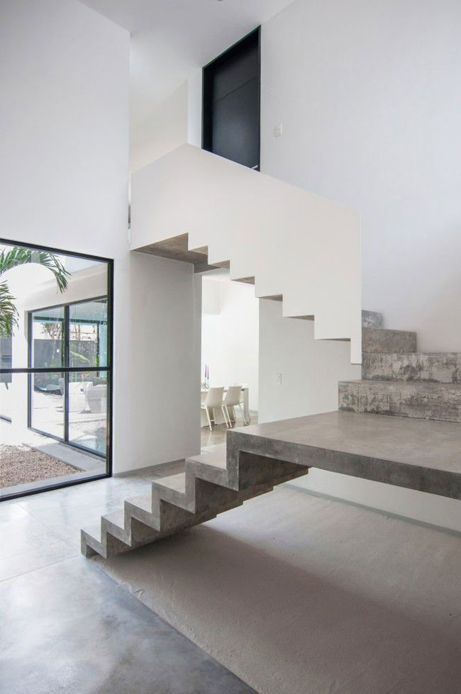 Escalier design beton et blanc for Escalier beton design