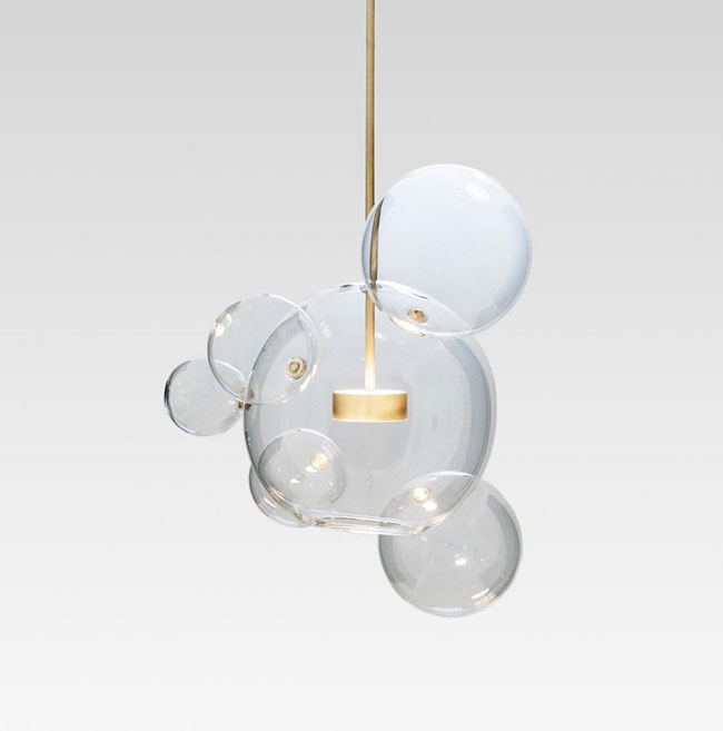 Luminaire design en verre for Luminaire multi suspension colore enfant