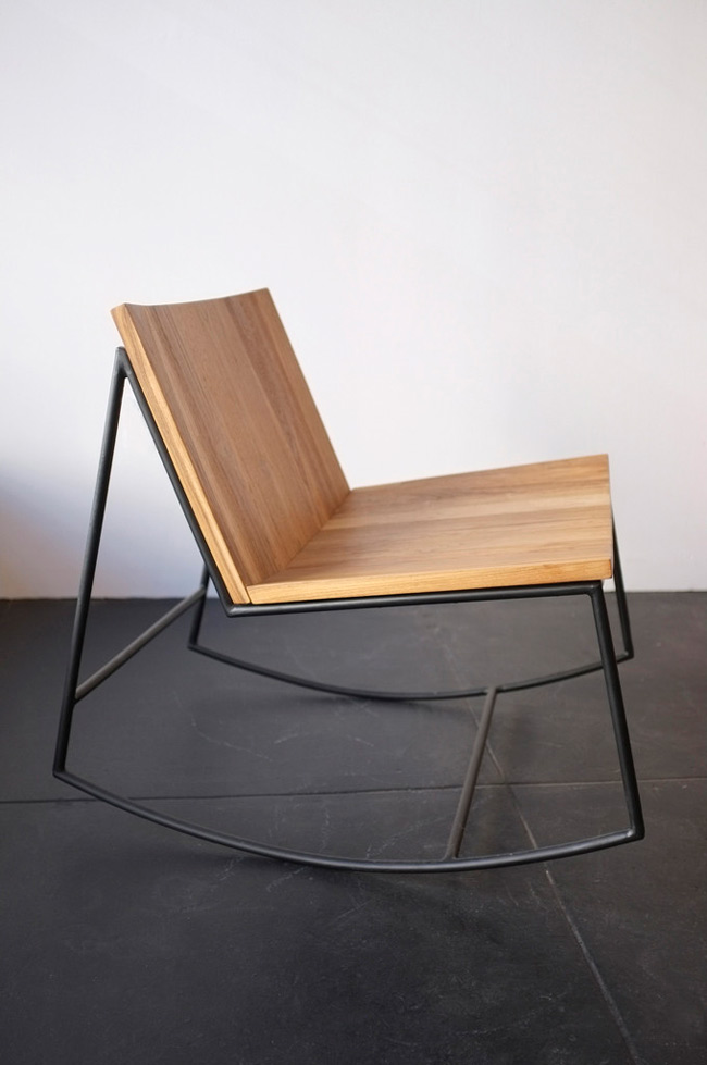 Rocking chair design bois et metal