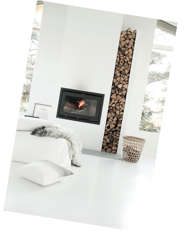 cheminee et stockage bois design