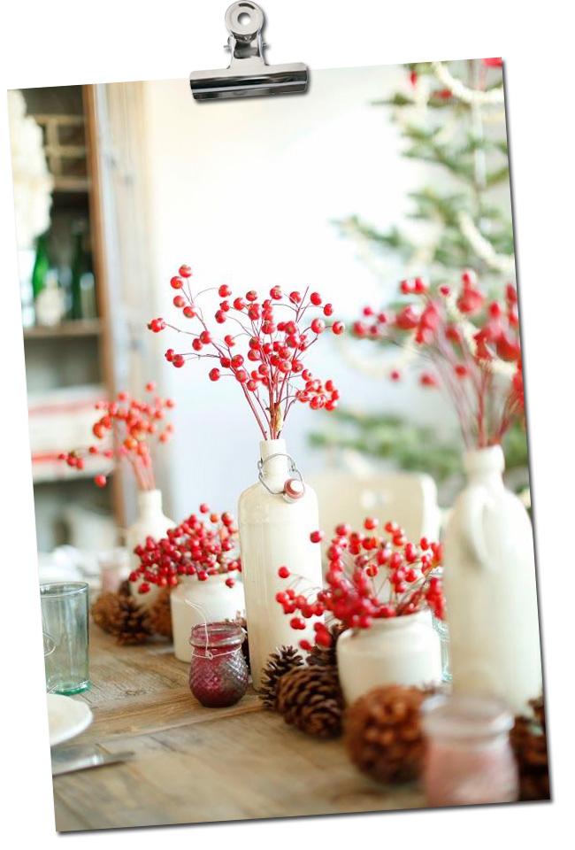 Mesa de Natal Natural com azevinho