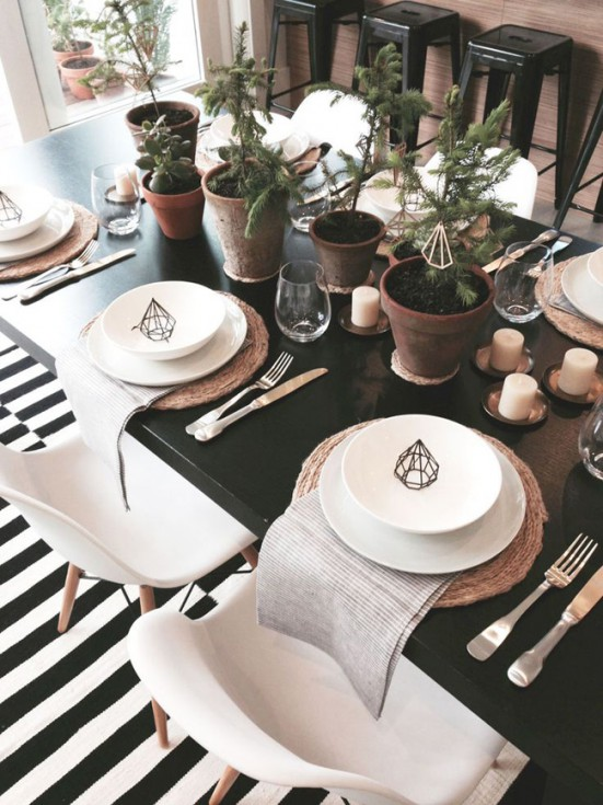 mesa de Natal preto e branco