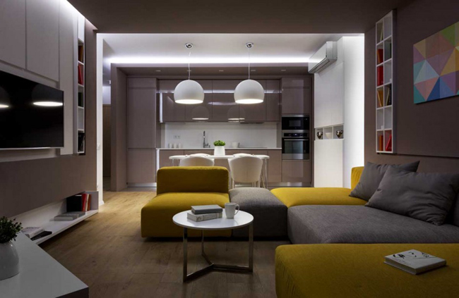 Appartement moderne et color - Images of small modern apartment interior in france ...