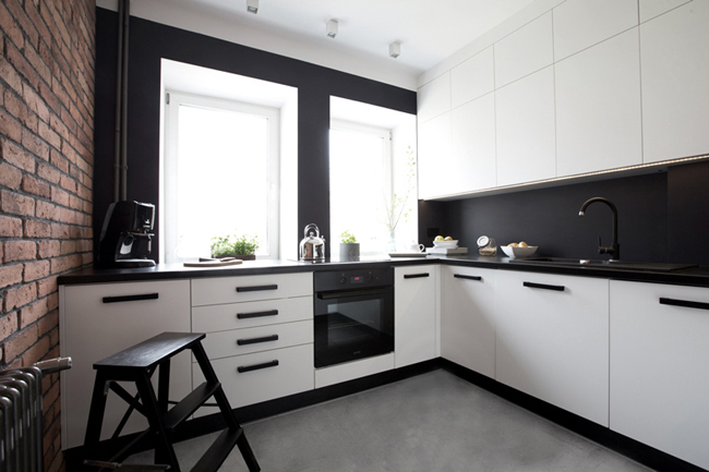 cuisine moderne avec mur de briques. Black Bedroom Furniture Sets. Home Design Ideas