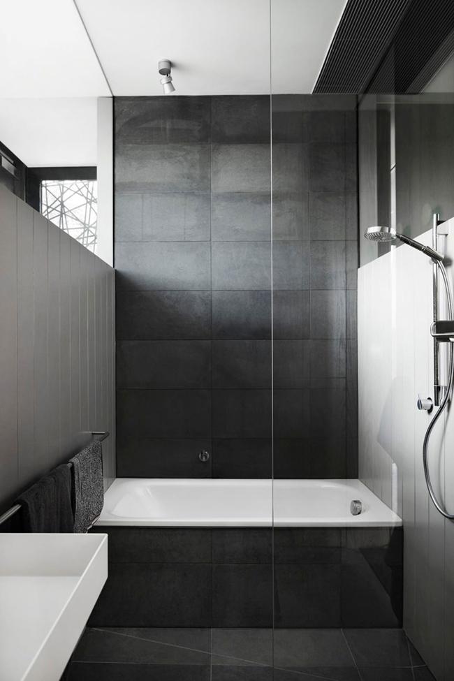 maison contemporaine bois et beton salle de bain - Salle De Bain Contemporaine