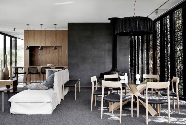 Maison contemporaine bois et beton salon
