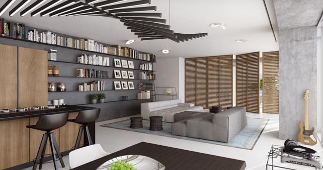 Appartement avec grande biblioth que murale - Construire une bibliotheque murale ...