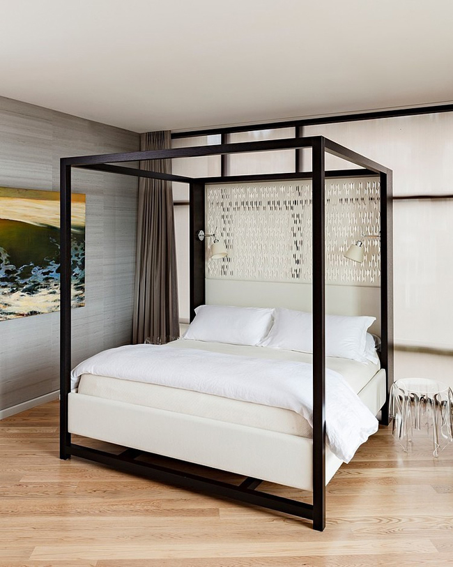chambre avec un lit baldaquin moderne. Black Bedroom Furniture Sets. Home Design Ideas