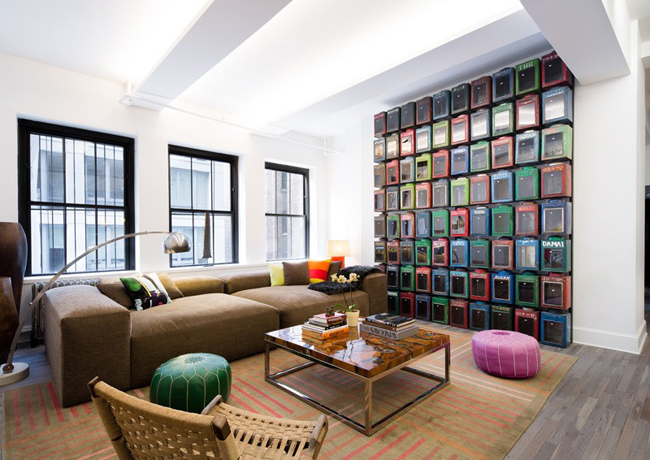 Grand salon esprit ethnique dans un loft new yorkais for Idee deco loft new yorkais