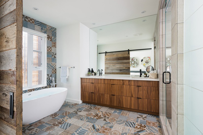 Salle de bain avec des carreaux de ciment for Bathroom ideas uk 2015