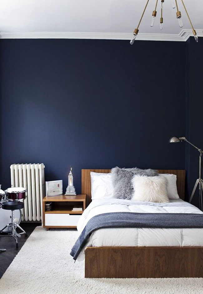 chambre mur bleu fonce. Black Bedroom Furniture Sets. Home Design Ideas