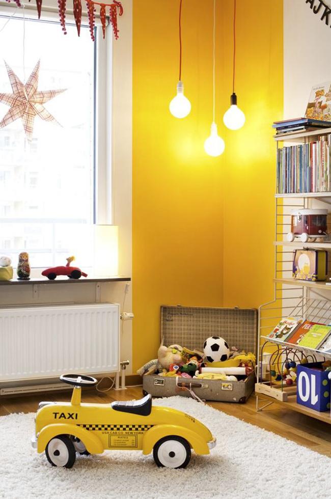 mur jaune chambre enfant