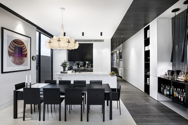 salle a manger moderne noir et blanc