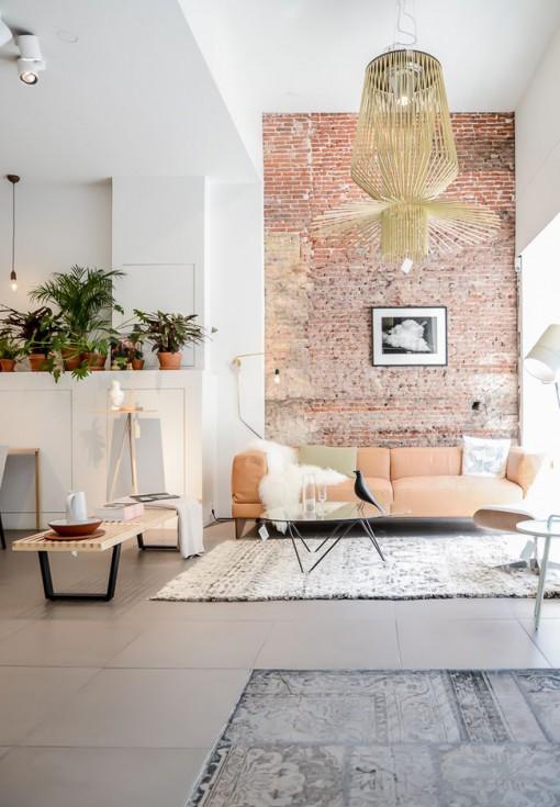 Salon  La Dcoration lgante Avec Mur De Briques