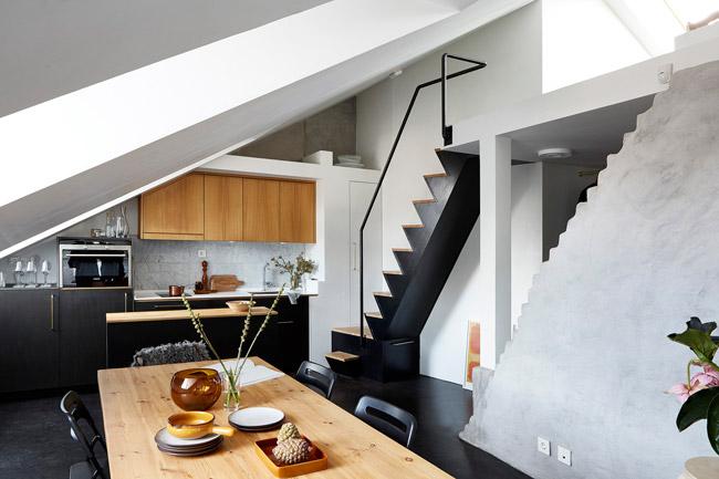 appartement duplex scandinave. Black Bedroom Furniture Sets. Home Design Ideas