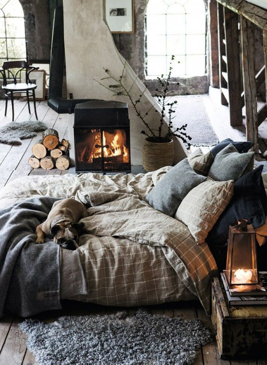 Chambre avec cheminee