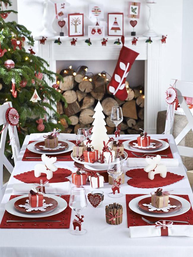 Idee deco table Noel rouge et blanche