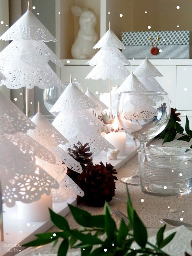 Idee deco table Noel blanche