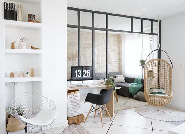 espace bureau avec verriere interieure. Black Bedroom Furniture Sets. Home Design Ideas