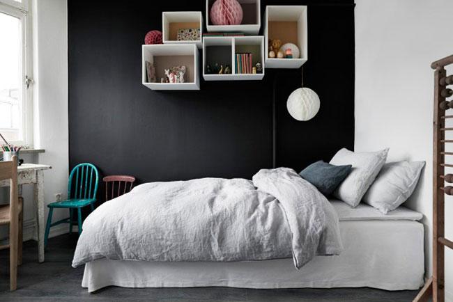 appartement avec murs gris fonc. Black Bedroom Furniture Sets. Home Design Ideas
