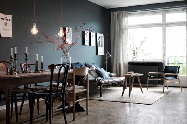 Appartement avec murs gris fonc for Mur noir dans salon