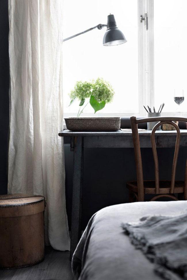 Idee deco chambre avec mur noir