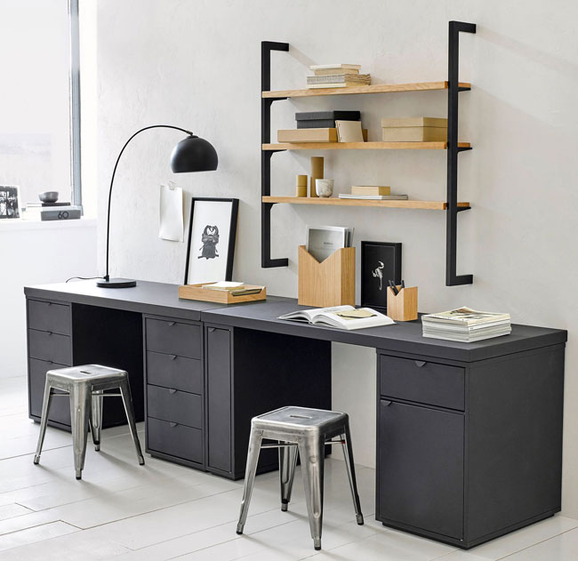 bureau double ampm. Black Bedroom Furniture Sets. Home Design Ideas