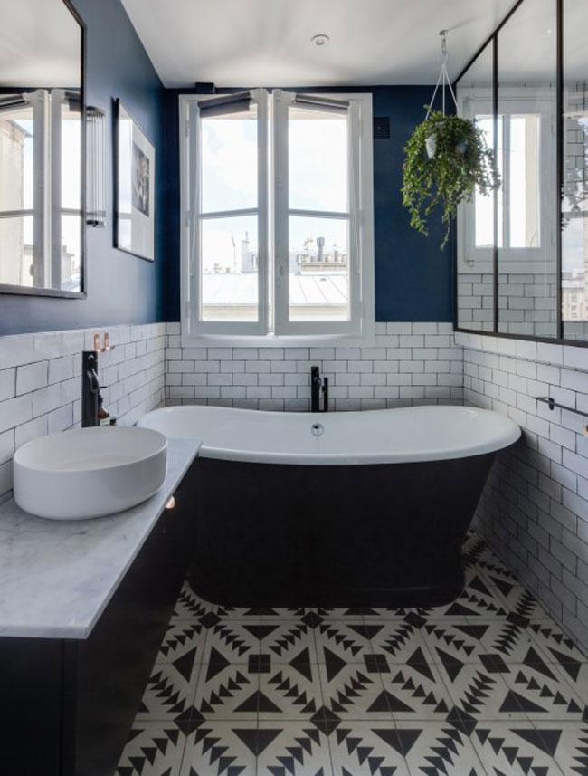Salle de bain avec carreaux de ciment for Salle de bain carreaux metro
